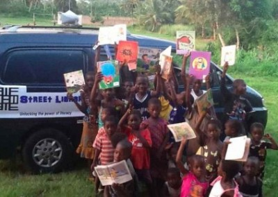 Street library van and children Mobile Literacy Development in Ghana