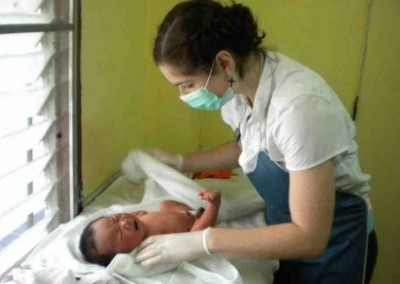 Swaddling baby Medical Internship at a District Hospital in Chiang Mai in Thailand